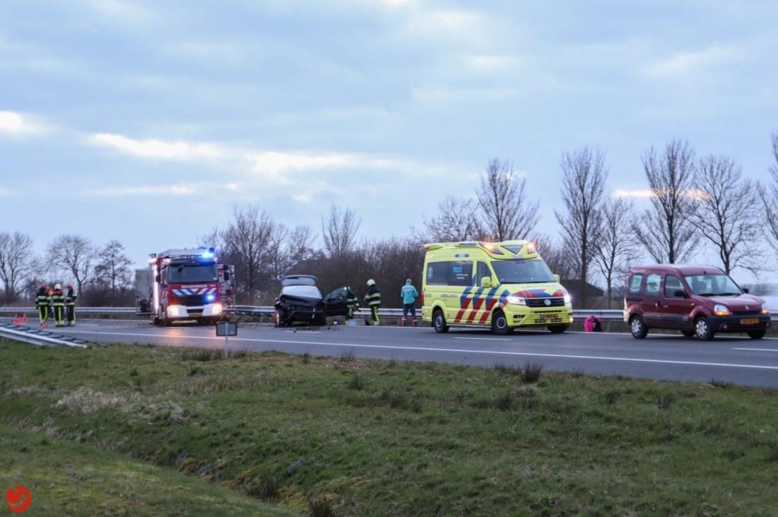A31 afgesloten door eenzijdig ongeval.